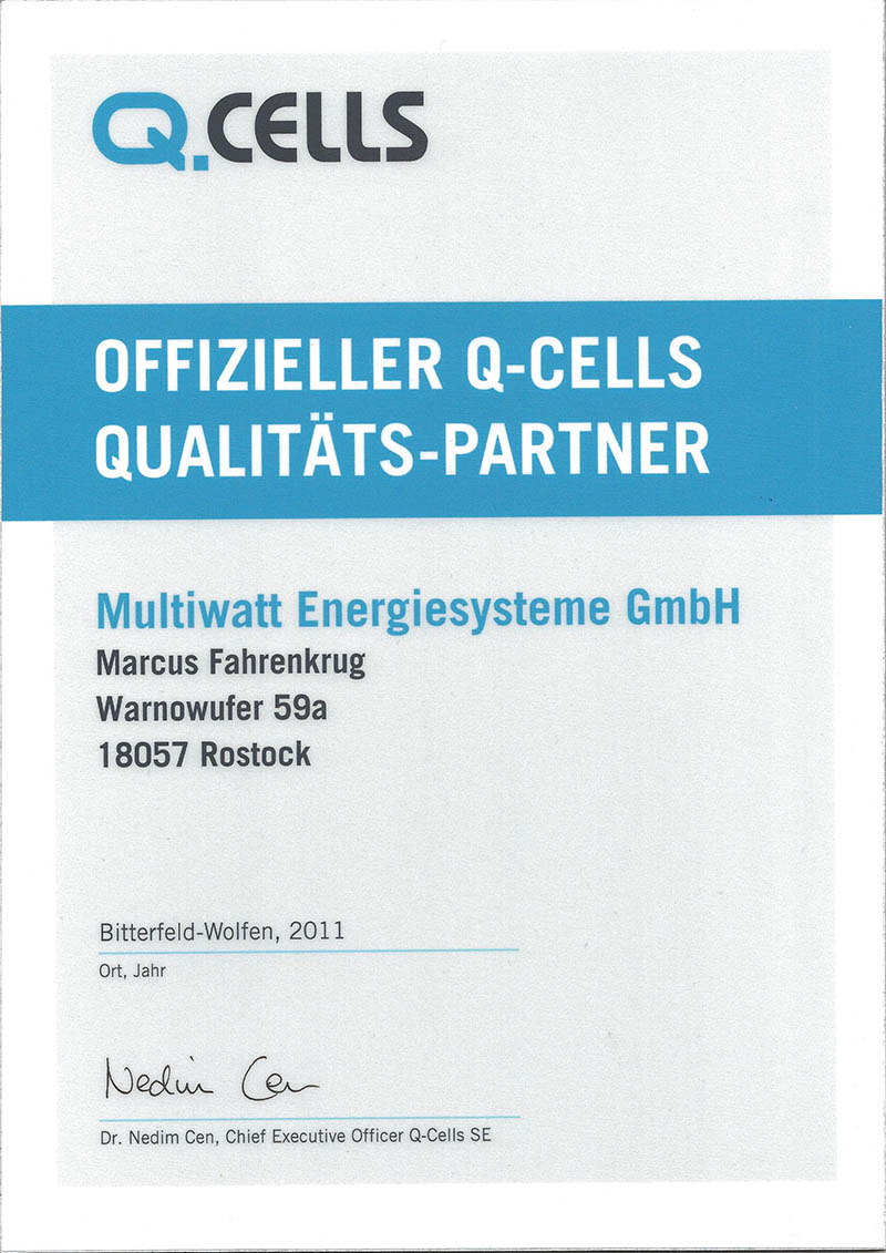 Certificate official Q-Cells quality partner