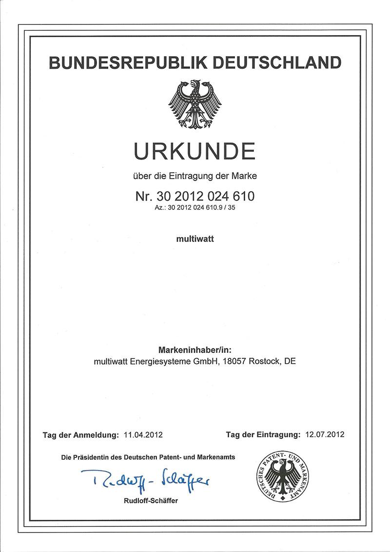 Urkunde Eintragung Marke multiwatt