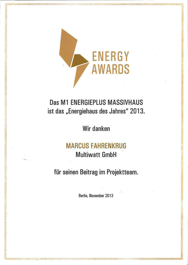 Urkunde Energy Award 2013